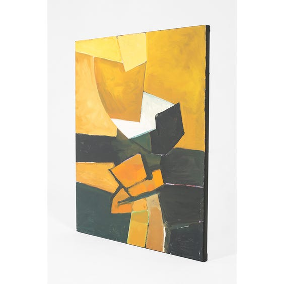 Abstract painting in mustard black and orange image