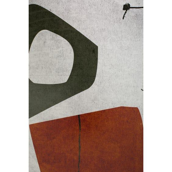 Print of green and burnt orange shapes  image