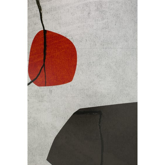 Print of dark grey burnt orange and pale pink shapes  image