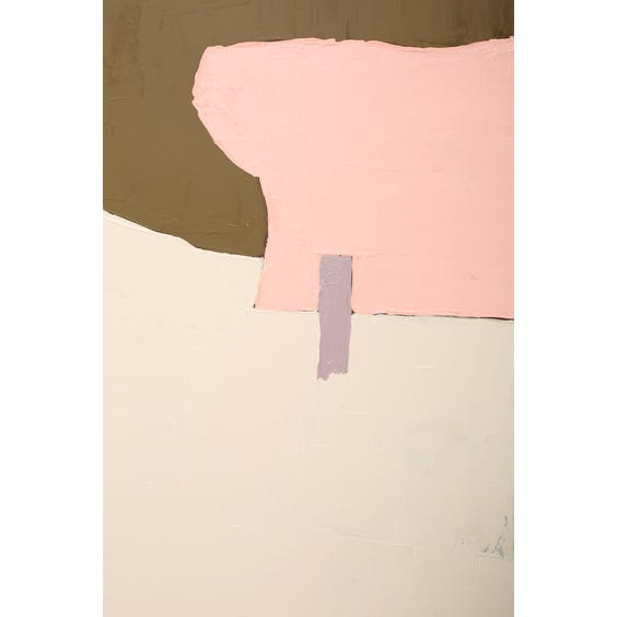 Large brown off white pink and aubergine abstract painting  image