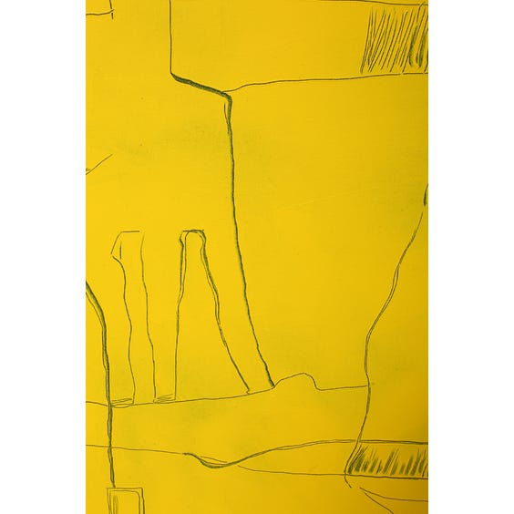 Bright yellow abstract impasto painting  image