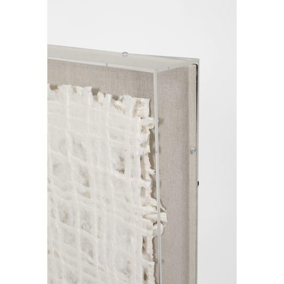 Modern white layered papier mache 3D grid image