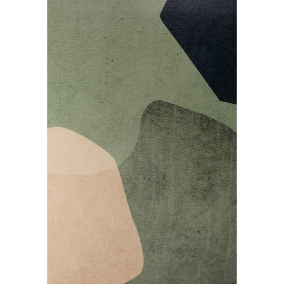 Print of pale peach and navy blue shapes image