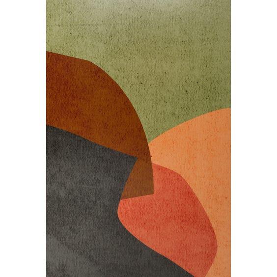Print of dark mauve burnt orange coral and off white shapes image