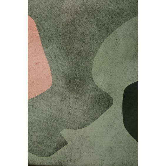 Print of dark green and pale pink shapes image