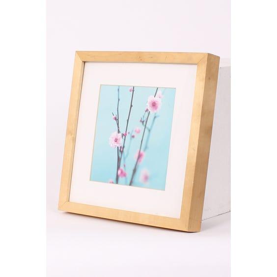 Square pink blossom green print image
