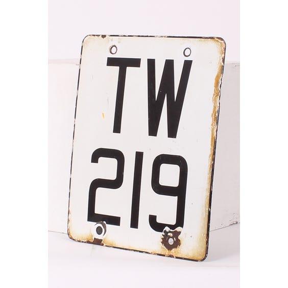 Metal enamel numberplate 'TW219' image