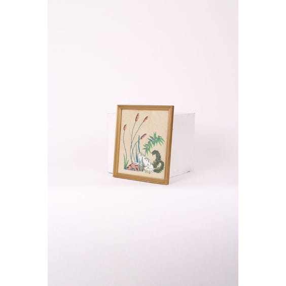 Embroidered frog in bulrushes image