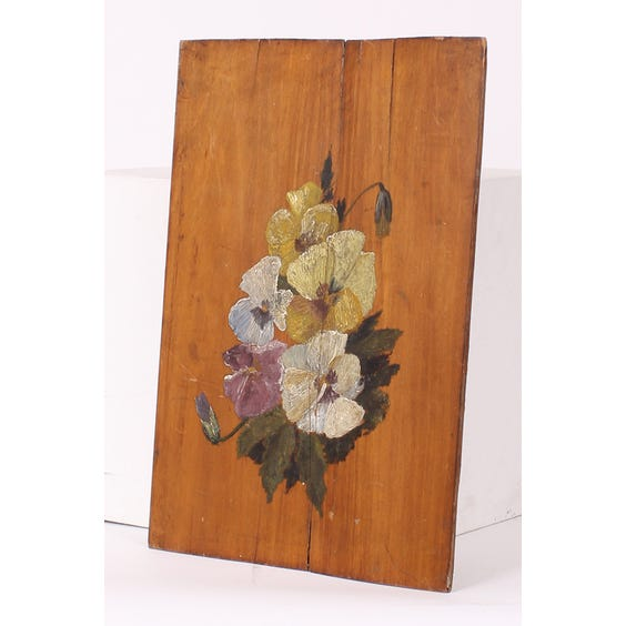 Painted pansies on wood panel image