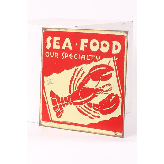 Metal 'Seafood' advertising plaque image