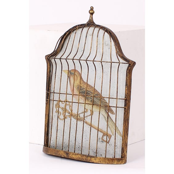 Mirrored golden bird in 3D cage image