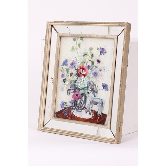 Glass painting of flowers and donkey image