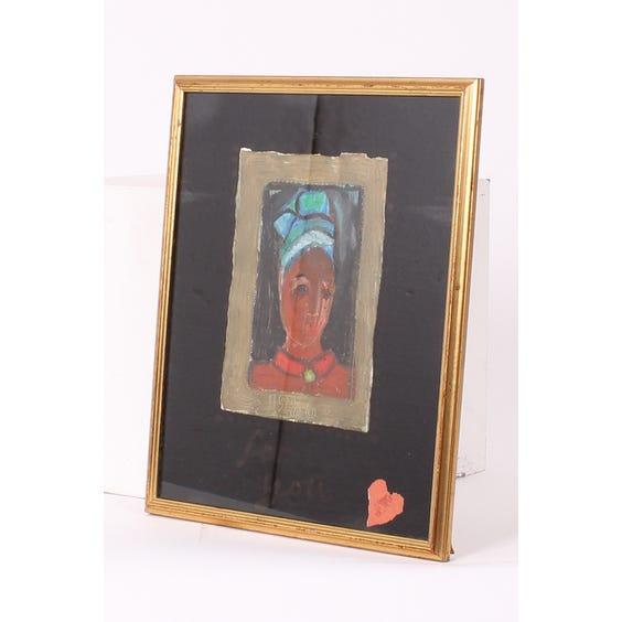 Tessana female portrait pastel drawing image