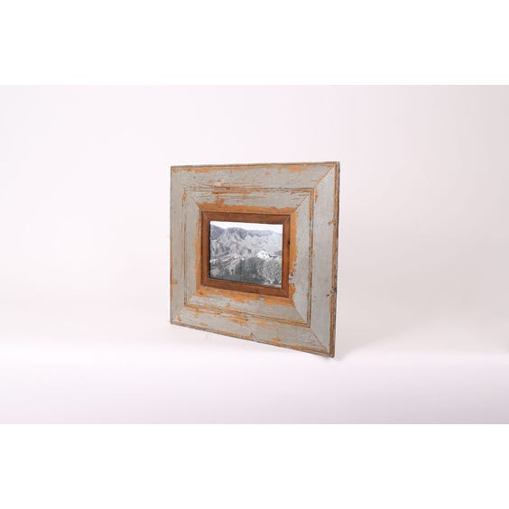 Recycled wood seagreen empty frame image