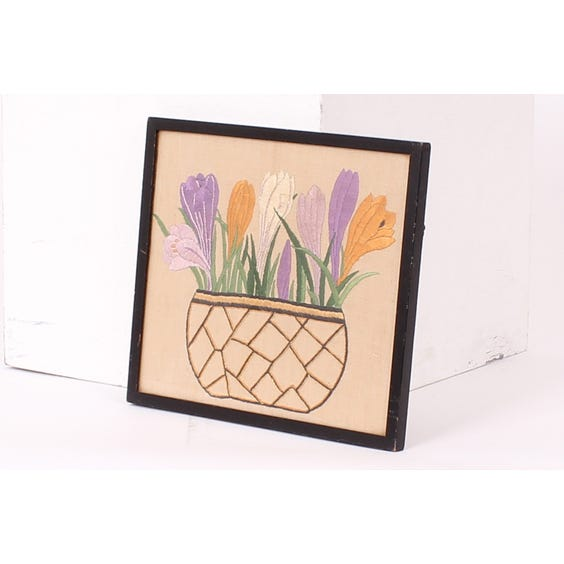 Embroidered crocuses on linen image