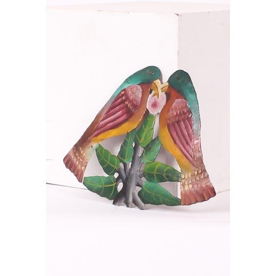 Martinique metal lovebirds plaque image