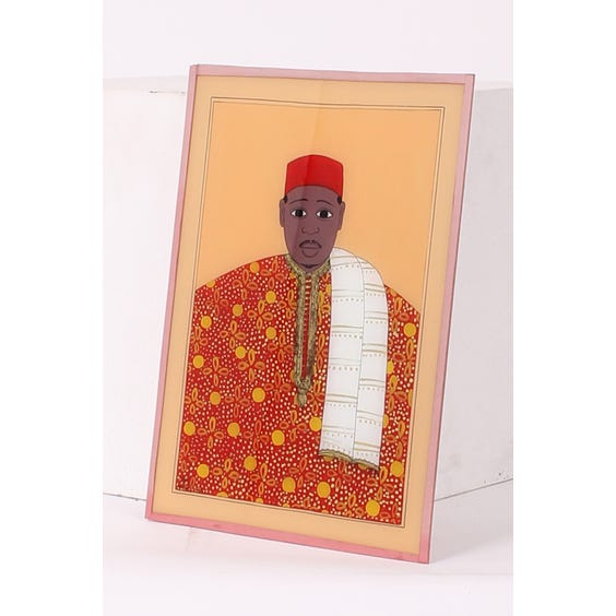 African red man glass painting image