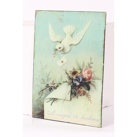 Metal plaque dove and envelope image