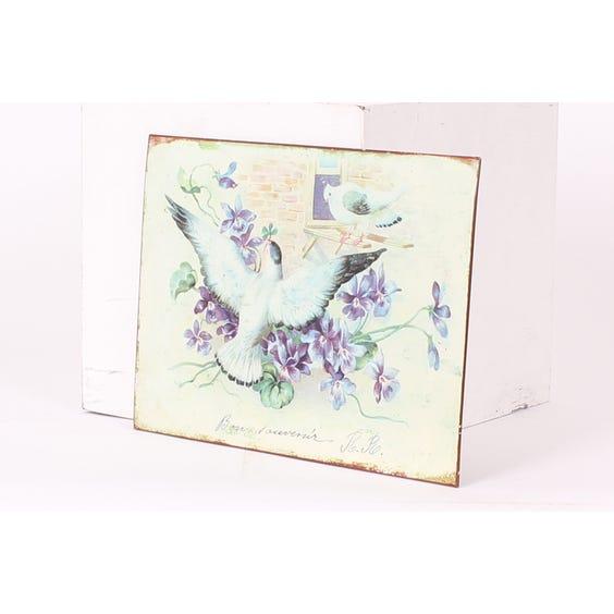 Metal plaque birds purple flowers image