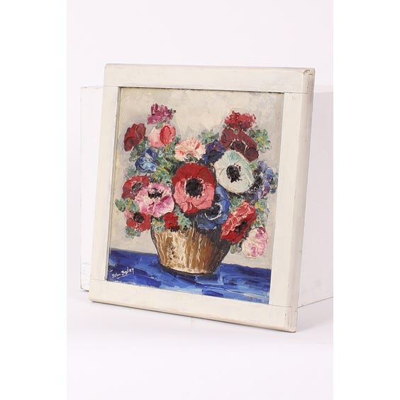 Oil painting of vase of flowers image
