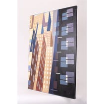 Abstract skyscraper canvas painting