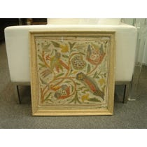Embroidered floral birds panel