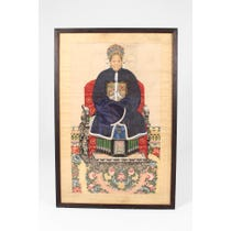 Chinese seated female ancestor painting