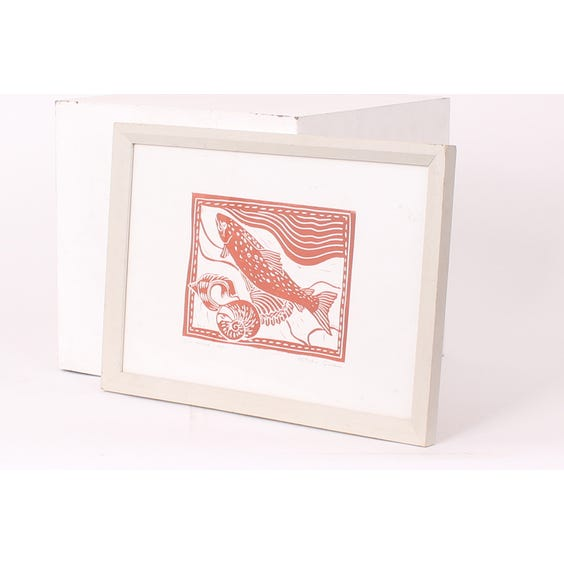 Red stencil print of trout image