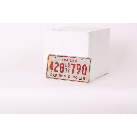 American red tin numberplate '428790' image
