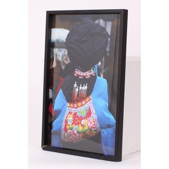 Chinese girl blue coat photograph image