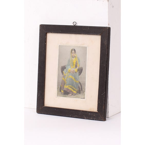 Indian woman in blue sari painting image