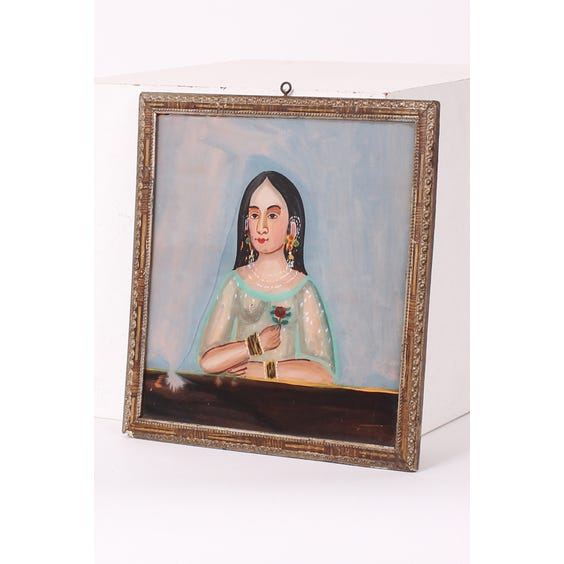 Indian female painted glass portrait image