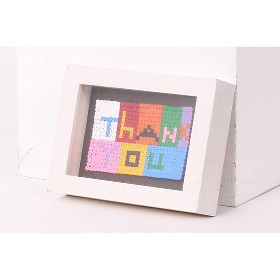Child's colourful beaded 'Thankyou' image