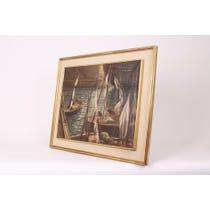 Spanish 1910 fishing ships painting