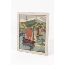 Vintage sailing boat framed tapestry