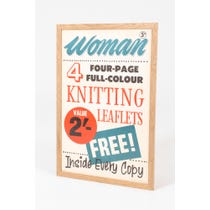 Vintage 'Woman knitting leaflet's poster