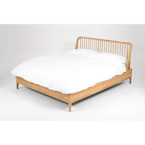 Modern oak curved spindle bed image