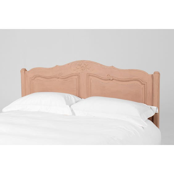 French rustic pink carved headboard image
