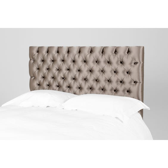 Pewter satin buttoned 5ft headboard image