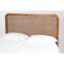 Modern carved wood and rattan 5ft headboard
