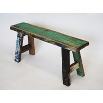 Distressed reclaimed wooden bench