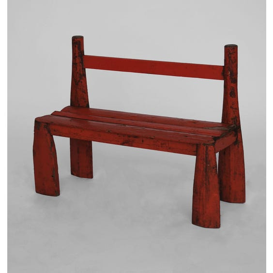 Red reclaimed wood child's bench image