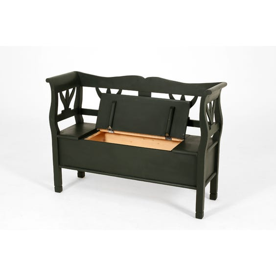 Forest green painted hallway bench image