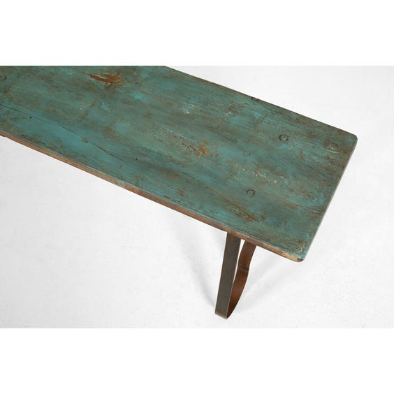 Turquoise reclaimed wooden bench image