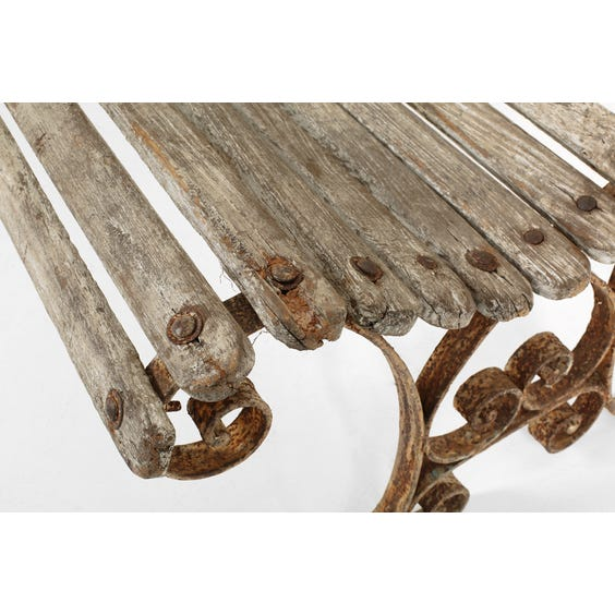 Antique French slatted wooden bench image