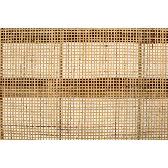 Midcentury woven rattan top teak bench  image
