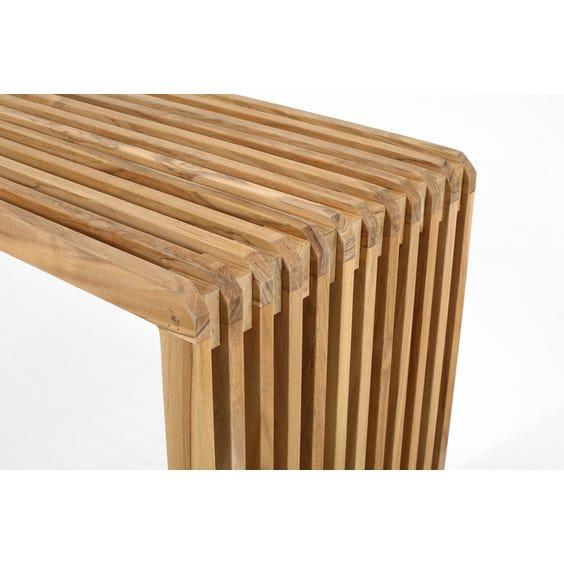 Modern pale teak slatted bench image