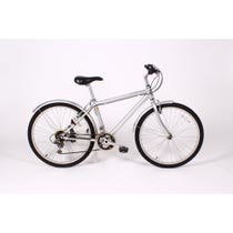 Modern silver mountain bike