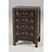 Chinese style black bedside cabinet