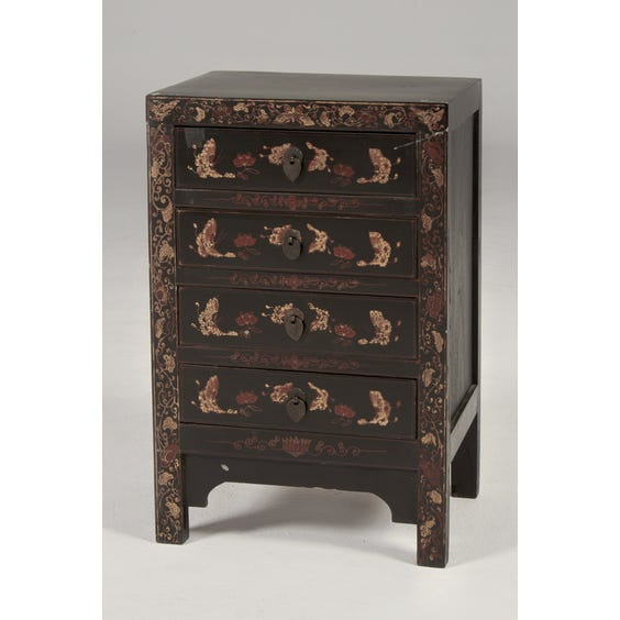 Chinese style black bedside cabinet image